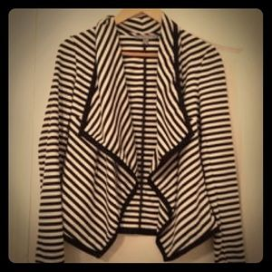 NY Collection Black and White Striped Blazer